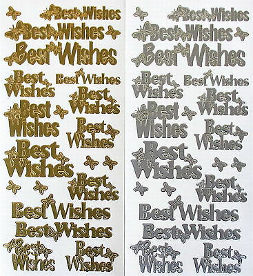 Best Wishes With Butterflies Type 2 Peel Off Stickers Gold Or Silver