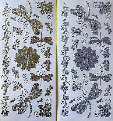 Dragonflies & Flower Twirls Peel Off Stickers Gold Or Silver