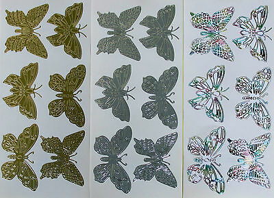 Large Butterflies STYLE 2 PEEL OFF STICKERS Various Colours Cardmaking