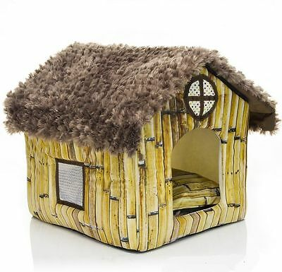 New Cute Pet Dog Cat Sofa Bed House bamboo House Cottages Kennel Size XS-M