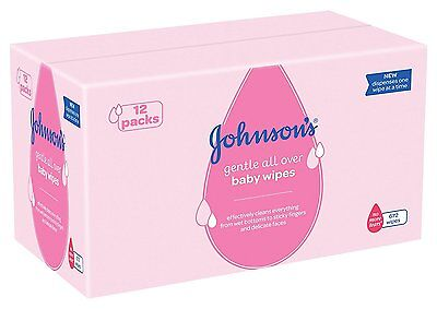 Johnson's Gentle Cleansing Baby Wipes 12 x Pack of 56 Wipes (672 Wipes) New