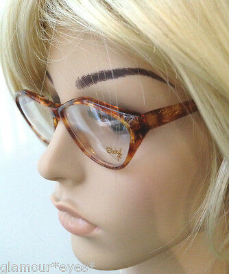 VTG France INGRID ELCE Lunette 1980 Gold Brown Tortoise Cat Eye GLASSES Frame