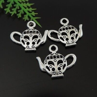 39444 80Pcs Antique Silver Alloy Hollowed Chinese Teapot Pendants Size 17*15*2mm