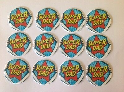 12 x 4cm Super Dad Edible Cupcake Toppers - PRECUT Fathers Day Dads Birthday