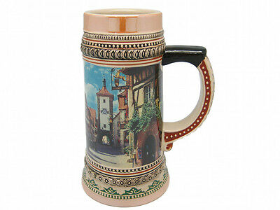 Ceramic Beer Stein German Village Scene