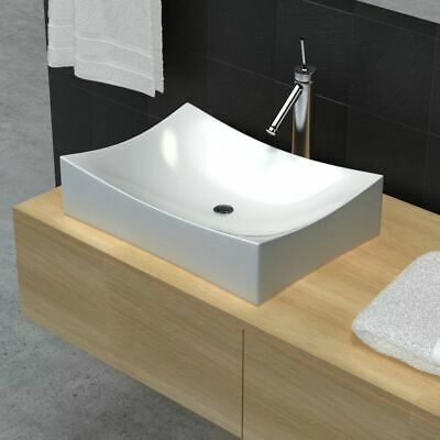 New Bathroom Ceramic Basin Vessel Sink Wash Basin Curved Square White 65,5x39cm