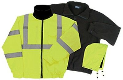 Class 3 ANSI Rated Winter Bomber Jacket Hi VIZ Yellow 3-1 W510 By ERB Fast SHIP!