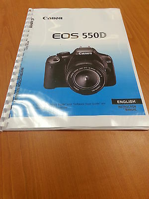 Canon  Eos550D Full User Manual Guide Instructions  Printed 260 Pages