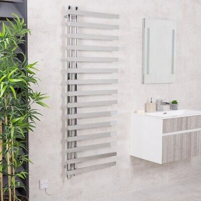 Designer Bathroom Electric Heated Towel Rail Rad Radiator Kit 1600 x 600 Chrome
