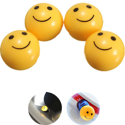 4x Smile Smiley Face Car Bike Motorcycle Tyre Tire Wheel Valve Caps Dust Covers