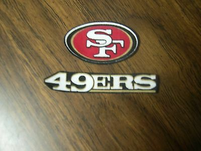 """San Francisco 49ers Iron on Cotton Patch (set of 2)  2""""x3/4"""", 3""""x1/2""""   NEW"""