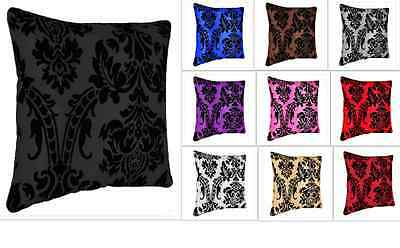 """Luxurious Flock Damask Cushion Covers Alone Or With Filling. Size- 18""""X 18"""""""
