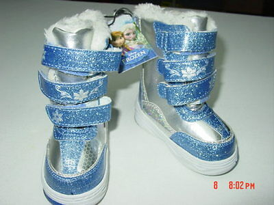NWT ToddlerGirl Disney Frozen Themed Winter Boots Sparkle Glitter Lined Blue