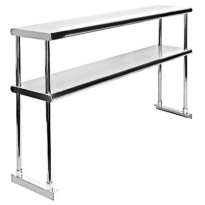 Commercial Stainless Steel Double Overshelf 12 x 48 for Work Tables