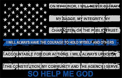 "Thin blue line decal - Tattered Flag with Credo Window Decal - 5"" x 3"" Size"