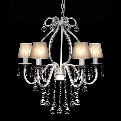 New 6 Arms Crystal Chandelier Lamp Ceiling Pendant Lighting 6 White Lightshades