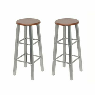 2 MDF Bar Stools Breakfast Kitchen Counter Design Chairs Wooden Seat Metal Frame