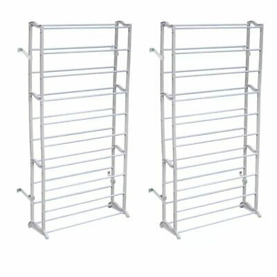 NEW 2x 10 TIERS 40 PAIR SHOE RACK STAND PORTABLE ORGANIZER STORAGE SOLUTION