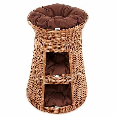 Superior Three Tiers Wicker Cat Tower Bed Basket House organic willow + cushions