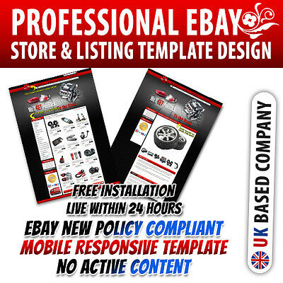 Stunning eBay Shop Template, Listing Mobile Responsive Template for Automobiles