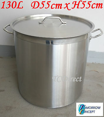 130L Commercial Stainless Steel Stock Pot Saucepan with Lid (D550xH550)