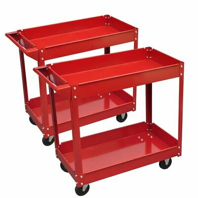New 2-Shelf Utility Tray Cart Rolling Red Service Shop Tool  Set Of 2 Storage
