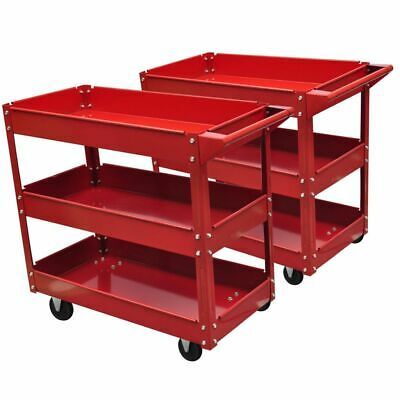 New 3-Shelf Rolling Red Service Shop Utility Tray Tool Cart Set Of 2 Storage