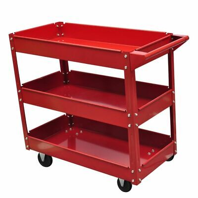 NEW 3-SHELF ROLLING RED SHOP UTILITY TRAY TOOL CART MECHANIC TOOL Cart TROLLEY