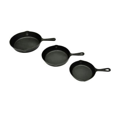 New Set Of 3 Bbq Pans Cast Iron Skillet Grill Pan Round 17/21/27Cm Barbeque