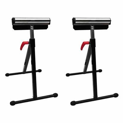 NEW Set of 2 Heavy Duty Adjustable Workshop Roller Stand Bench Saw 60kg Capacity
