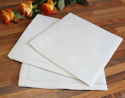 White 100% Linen Dinner Napkins - Hemstitch Table Linen Cloth
