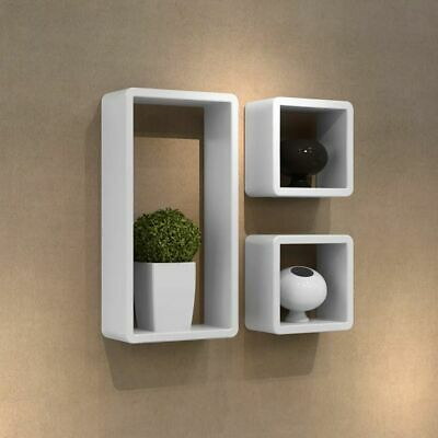 3 Retro Wall Cuboid Floating Shelves Stand Storage Display Uni Bookcase