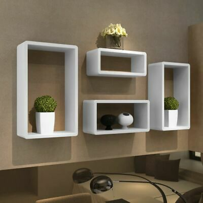 New 4 Retro Wall Cuboid Floating Shelves Stand Storage Display Bookcase White