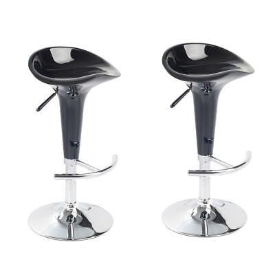 New Black Bar Stool Set Of Two Shiny Kitchen Breakfast Barstools Black Pu Swivel