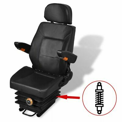 vidaXL Tractor Seat with Suspension Armrest Headrest Spring Tracks Forklift