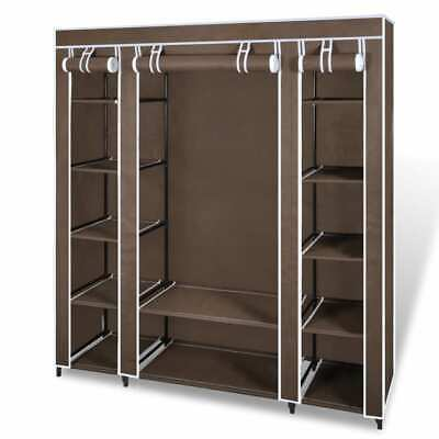NEW Fabric Cabinet with Compartments & Rods 45 x 150 x 176 cm Brown Storage