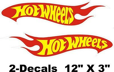"""2 Hot Wheels Decals Car Sticker Red Yellow and White Vinyl New 12"""" x 3"""" each"""