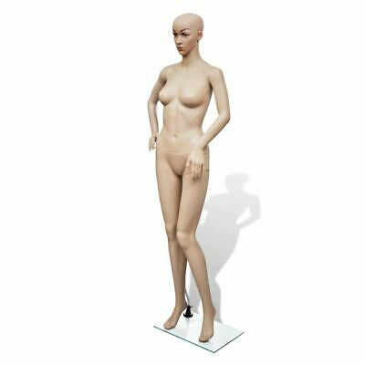 Dress Form Mannequin Women Full Body with Head Stand Glass Base Skin Colour