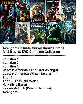 AVENGERS ULTIMATE MARVEL SUPERHEROS ALL 10 MOVIE FILM DVD Complete Collection UK