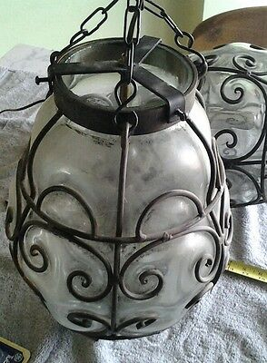 Vintage Wrought Iron & Glass Hanging Light w/ Extra Bulb!