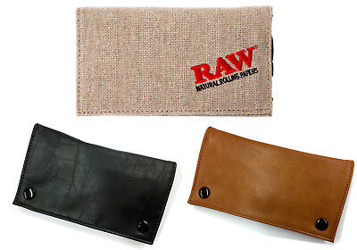 Raw Leather Tobacco Wallet For Rolling Paper Pouch Black Brown Stash Storage