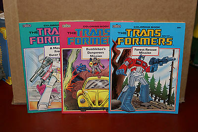 Lot of 3 Transformers Unused Coloring Books Marvel 1985 G1
