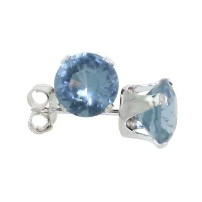 df816a9f9 .925 Sterling Silver 2.0Ct Round Cut 6mm December Birthstone Cz Stud  Earrings .