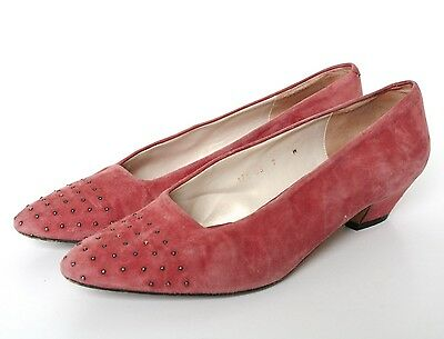 UK 5/5.5 Vintage Shoes - 1980s Pink Suede Leather - Evan-Picone - 38 / 38.5