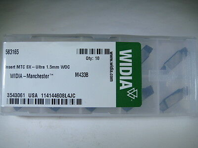 Lot ( 10 ) Widia Manchester 583165 Grooving Carbide Inserts Lathe Parting Tools