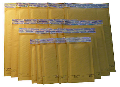 KRAFT SELF-SEALING PADDED BUBBLE AIR MAILERS -VARIETY PACK OF 100: (4) Sizes