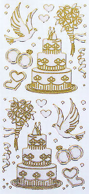 Lovely Pearl Glitter Gold Edged WEDDING CAKE FLOWERS & DOVES PEEL OFF STICKERS