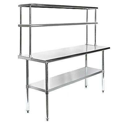 Stainless Steel Work Prep Table 24 x 30 with Adjustable Double Overshelf