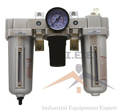 "1/2"" NPT Compressed Air Preparation Filter/Regulator/Lubricator FRL w auto drain"