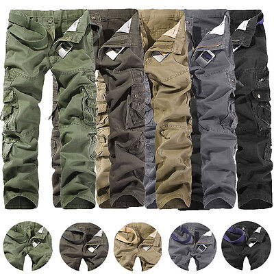 Mens Fashion Army Cargo Camo Combat Military Work Trousers Casual Pants